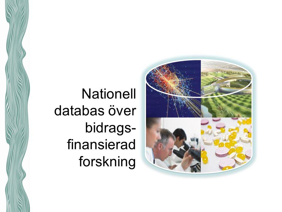 Nationell databas över bidrags- finansierad forskning