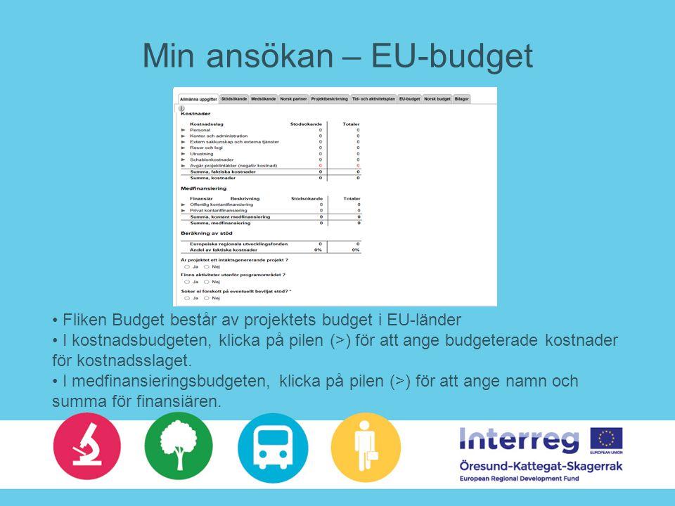Min ansökan – EU-budget Fliken Budget består av projektets budget i EU-länder I kostnadsbudgeten, klicka på pilen (>) för att ange budgeterade kostnader för kostnadsslaget.