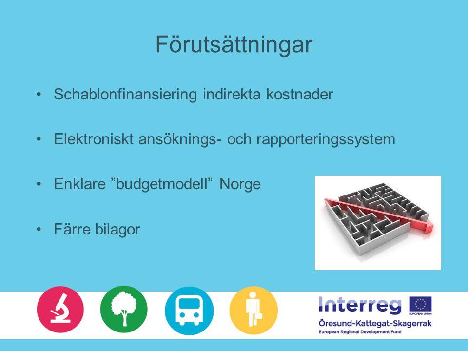 Förutsättningar Schablonfinansiering indirekta kostnader Elektroniskt ansöknings- och rapporteringssystem Enklare budgetmodell Norge Färre bilagor
