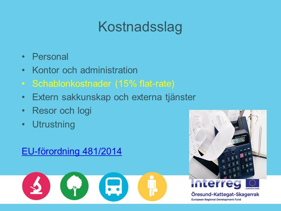 Kostnadsslag Personal Kontor och administration Schablonkostnader (15% flat-rate) Extern sakkunskap och externa tjänster Resor och logi Utrustning EU-förordning 481/2014