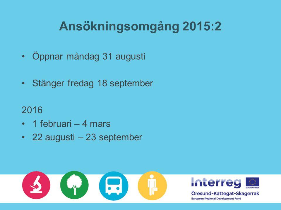 Ansökningsomgång 2015:2 Öppnar måndag 31 augusti Stänger fredag 18 september 2016 1 februari – 4 mars 22 augusti – 23 september