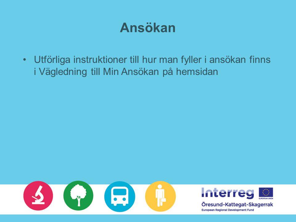 Regionalforvaltning.no (RF1350) Norsk webansökan, obligatoriskt om norska partners Skrivs ut och skrivs under på samma sätt som Min ansökan Samma innehåll som Min ansökan – bland annat andra namn på rubriker, ex.vis –Prosjektbeskrivelse = Motivera projektet –Samarbeidspartnere = Medsökande