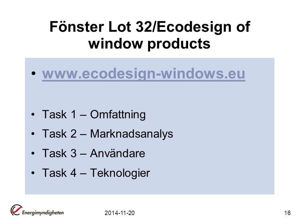 Fönster Lot 32/Ecodesign of window products www.ecodesign-windows.eu Task 1 – Omfattning Task 2 – Marknadsanalys Task 3 – Användare Task 4 – Teknologier 2014-11-2016