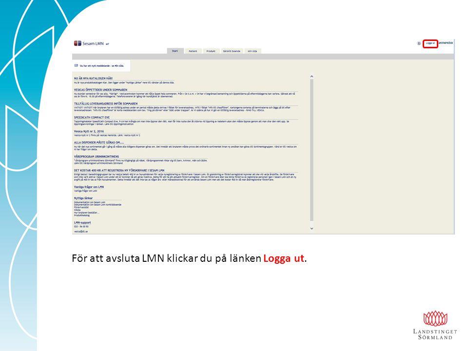 För att avsluta LMN klickar du på länken Logga ut.