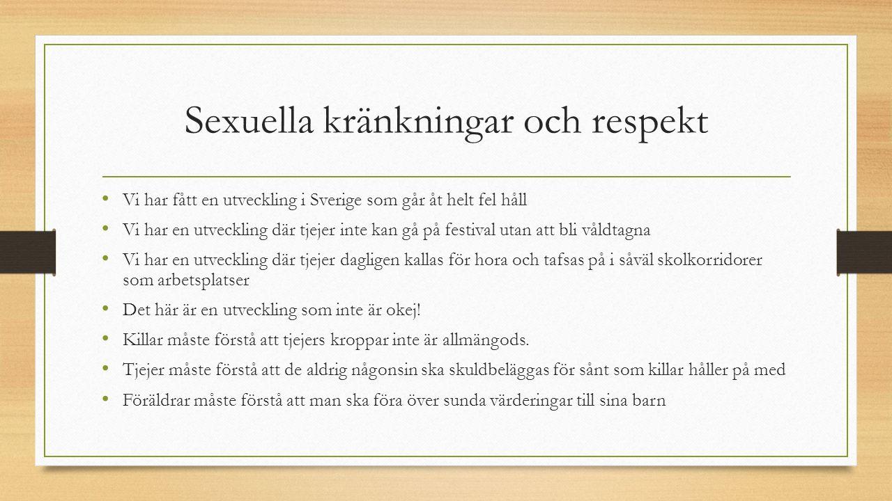 Sexuella kränkningar och respekt Vi har fått en utveckling i Sverige som går åt helt fel håll Vi har en utveckling där tjejer inte kan gå på festival