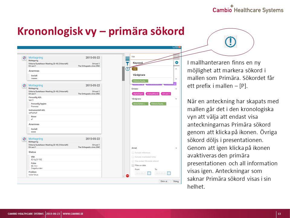 Sv CAMBIO HEALTHCARE SYSTEMS Krononlogisk vy – primära sökord 2015-06-23WWW.CAMBIO.SE13 I mallhanteraren finns en ny möjlighet att markera sökord i mallen som Primära.