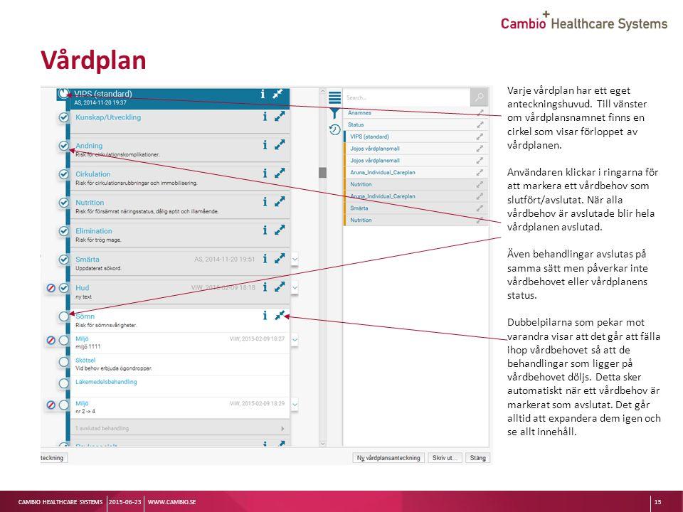 Sv CAMBIO HEALTHCARE SYSTEMS Vårdplan 2015-06-23WWW.CAMBIO.SE15 Varje vårdplan har ett eget anteckningshuvud.