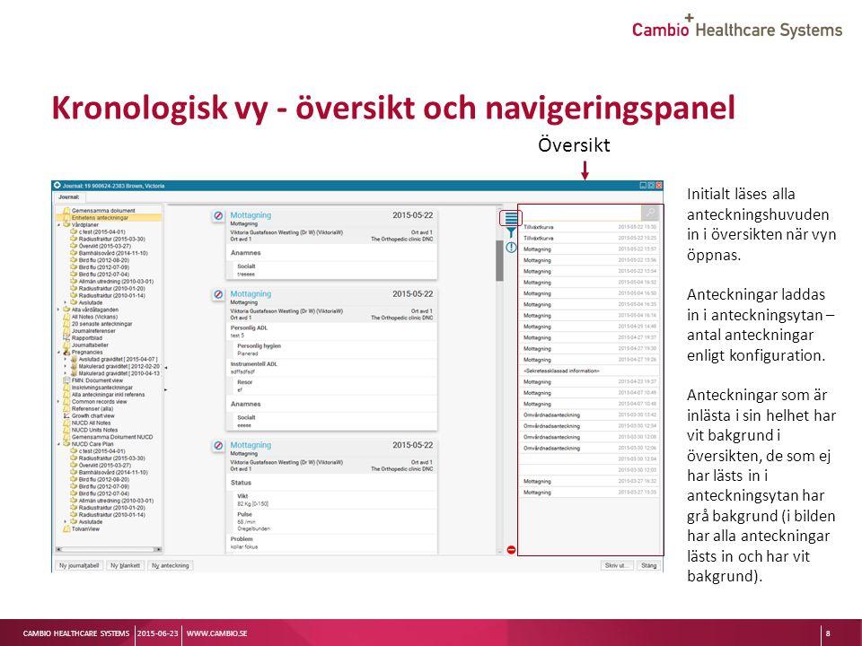 Sv CAMBIO HEALTHCARE SYSTEMS Kronologisk vy - översikt och navigeringspanel 2015-06-23WWW.CAMBIO.SE8 Initialt läses alla anteckningshuvuden in i översikten när vyn öppnas.