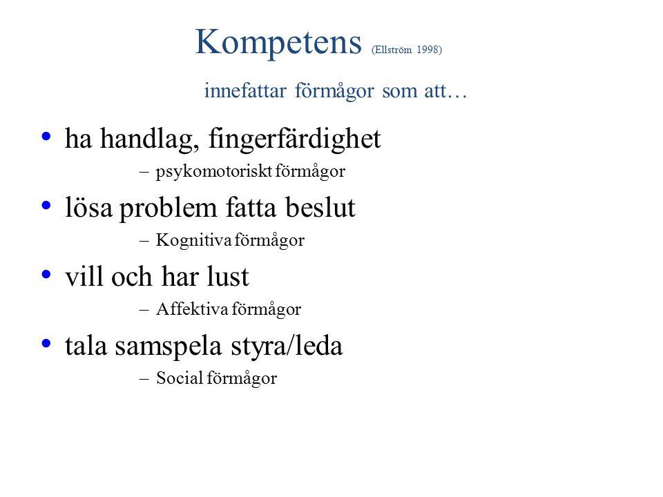 Kompetens (Ellström 1998) innefattar förmågor som att… ha handlag, fingerfärdighet –psykomotoriskt förmågor lösa problem fatta beslut –Kognitiva förmågor vill och har lust –Affektiva förmågor tala samspela styra/leda –Social förmågor