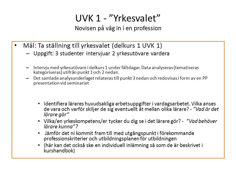 UVK 1 - Yrkesvalet Novisen på väg in i en profession Mål: Ta ställning till yrkesvalet (delkurs 1 UVK 1) – Uppgift: 3 studenter intervjuar 2 yrkesutövare vardera – Intervju med yrkesutövare i delkurs 1 under fältdagar.