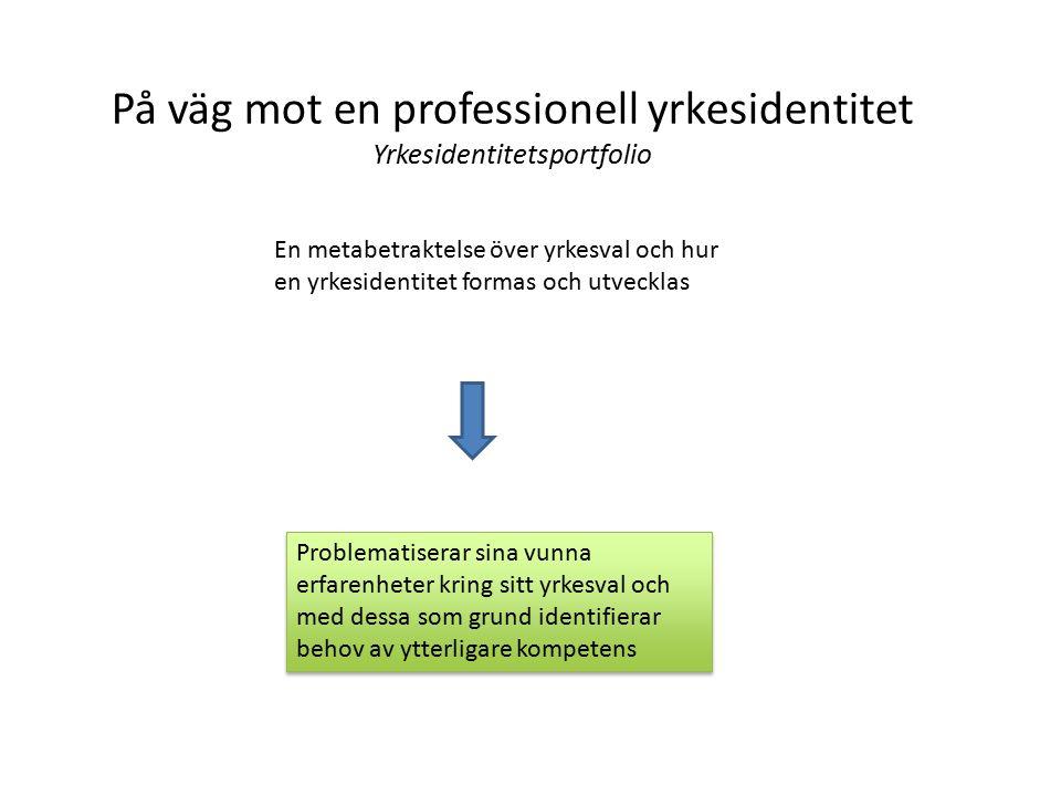 På väg mot en professionell yrkesidentitet Yrkesidentitetsportfolio En metabetraktelse över yrkesval och hur en yrkesidentitet formas och utvecklas Problematiserar sina vunna erfarenheter kring sitt yrkesval och med dessa som grund identifierar behov av ytterligare kompetens