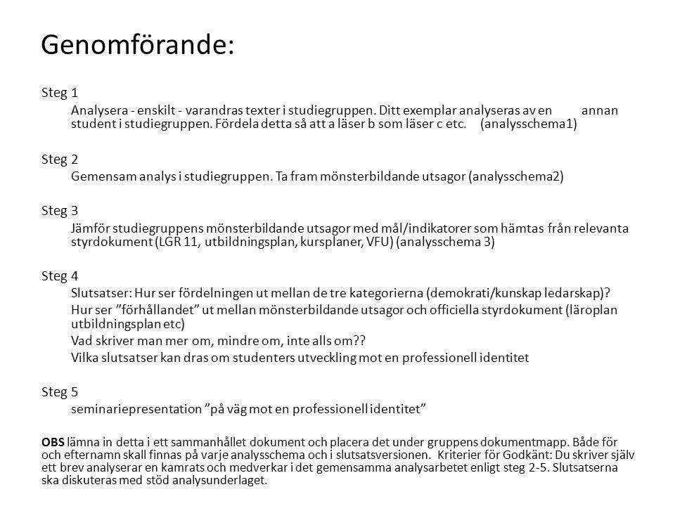 Genomförande: Steg 1 Analysera - enskilt - varandras texter i studiegruppen.