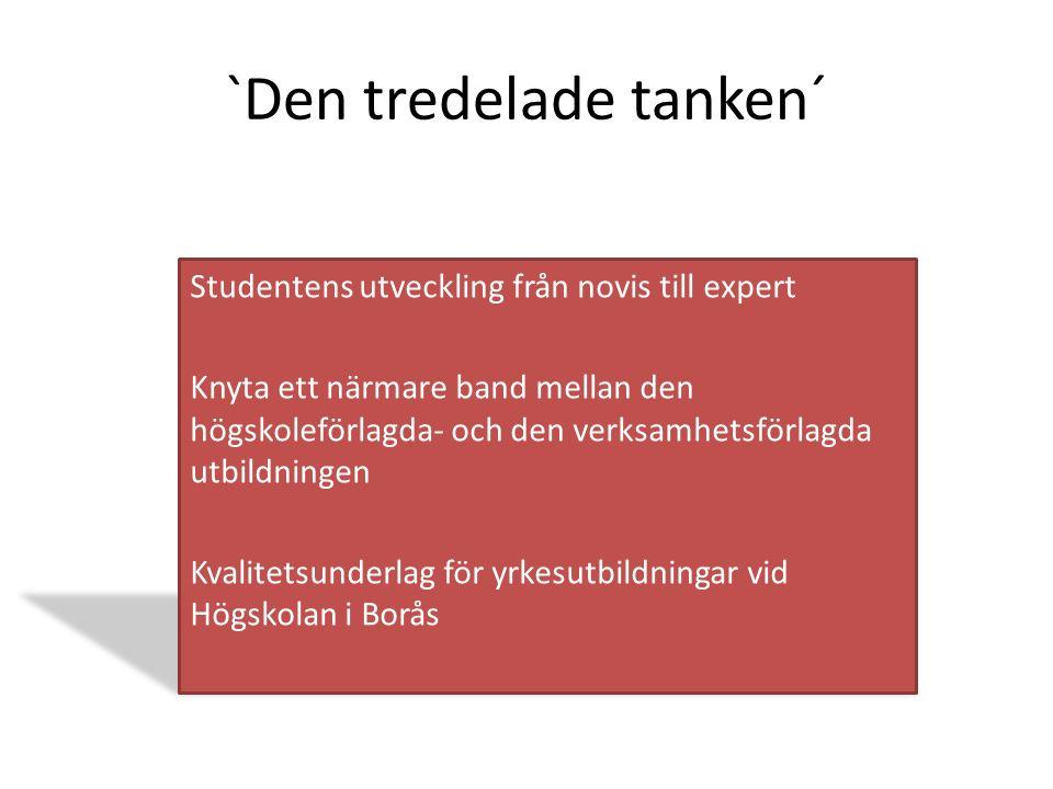 `Den tredelade tanken´ Studentens utveckling från novis till expert Knyta ett närmare band mellan den högskoleförlagda- och den verksamhetsförlagda utbildningen Kvalitetsunderlag för yrkesutbildningar vid Högskolan i Borås