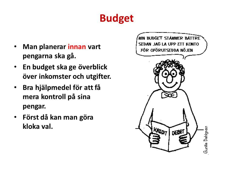 Budget Man planerar innan vart pengarna ska gå.