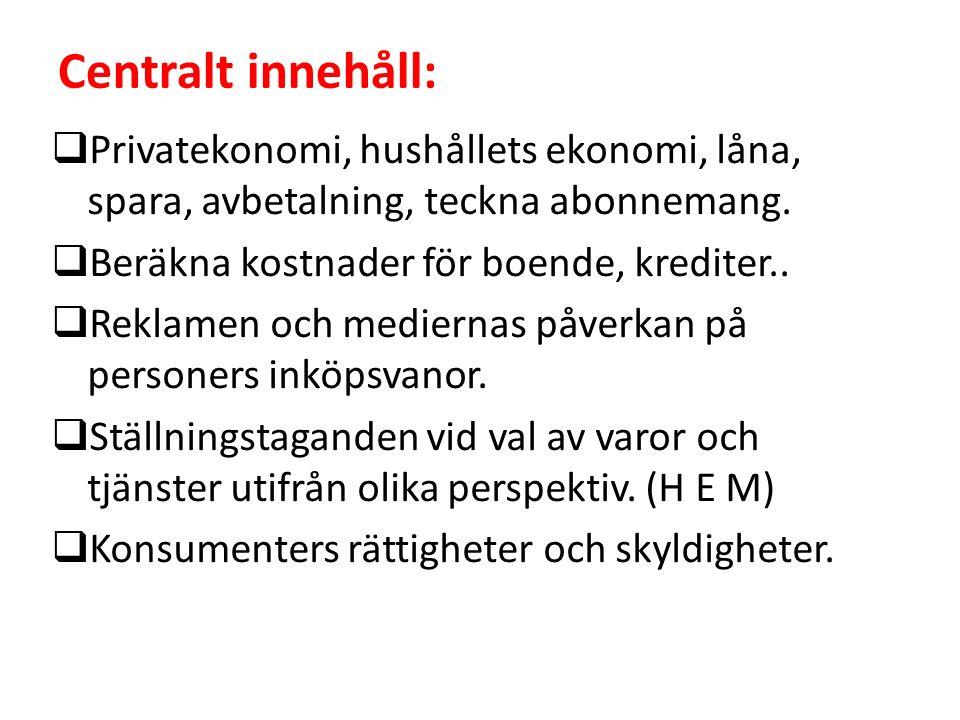 Centralt innehåll:  Privatekonomi, hushållets ekonomi, låna, spara, avbetalning, teckna abonnemang.