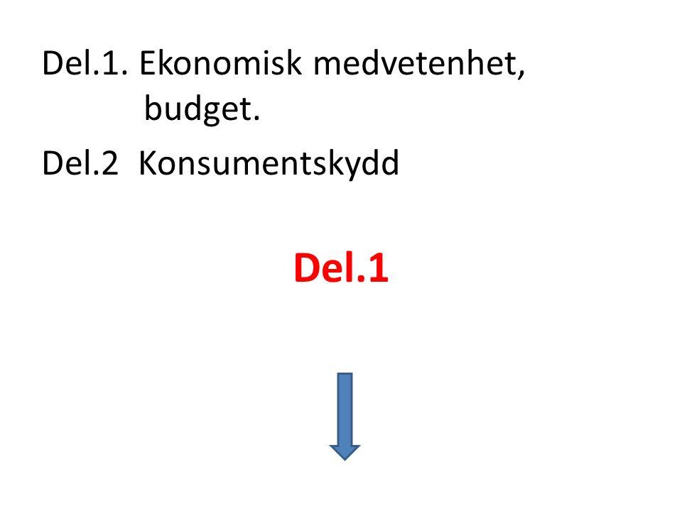 Del.1. Ekonomisk medvetenhet, budget. Del.2 Konsumentskydd Del.1