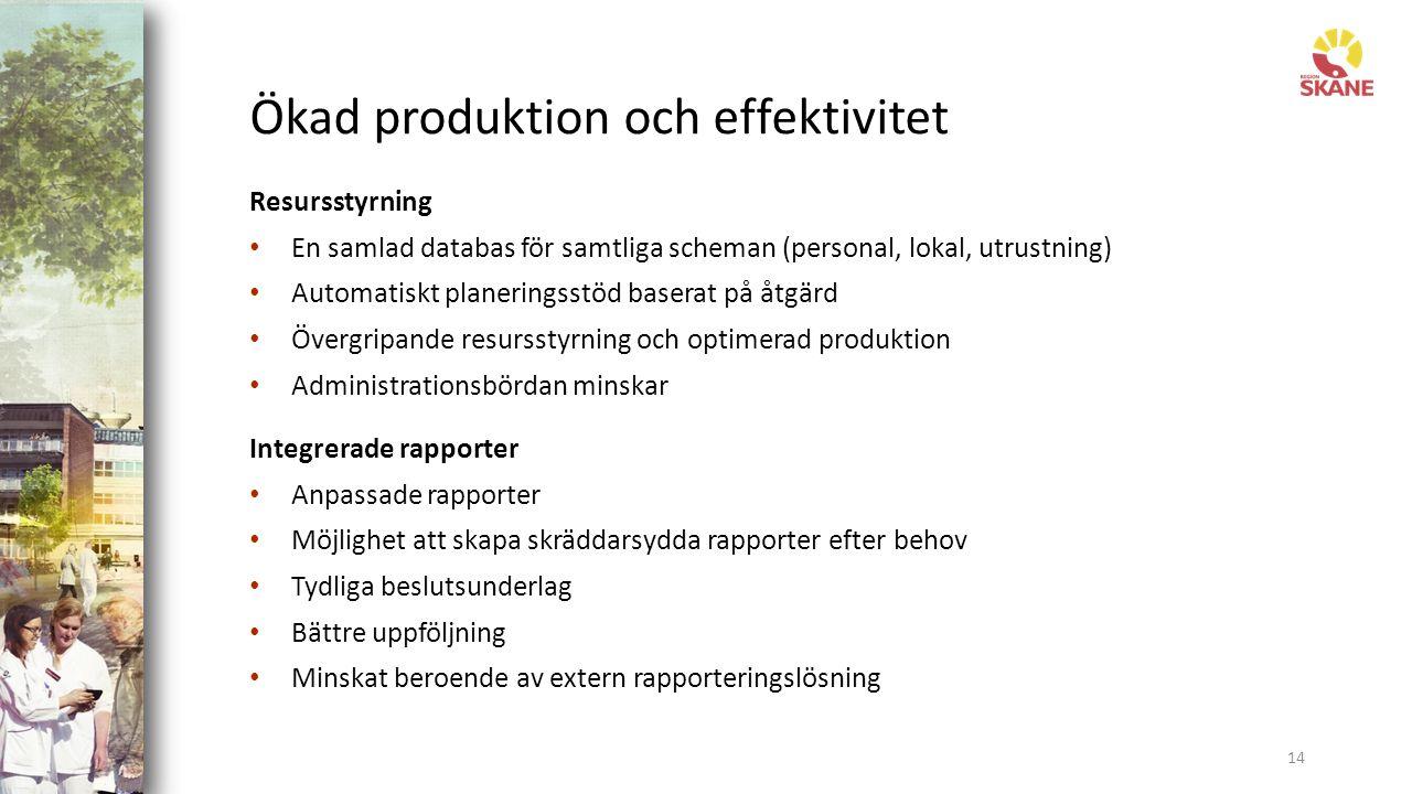 Ökad produktion och effektivitet Resursstyrning En samlad databas för samtliga scheman (personal, lokal, utrustning) Automatiskt planeringsstöd baserat på åtgärd Övergripande resursstyrning och optimerad produktion Administrationsbördan minskar Integrerade rapporter Anpassade rapporter Möjlighet att skapa skräddarsydda rapporter efter behov Tydliga beslutsunderlag Bättre uppföljning Minskat beroende av extern rapporteringslösning 14