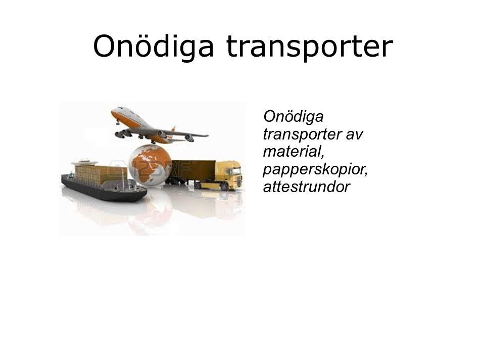 Onödiga transporter Onödiga transporter av material, papperskopior, attestrundor