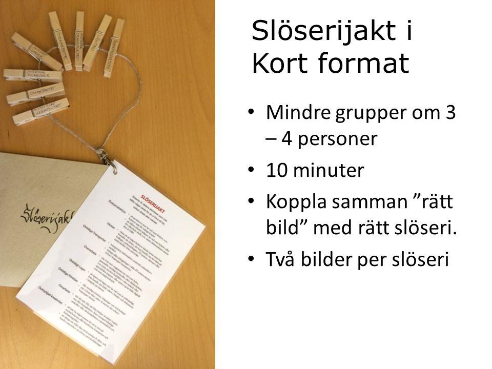Slöserijakt i Kort format Mindre grupper om 3 – 4 personer 10 minuter Koppla samman rätt bild med rätt slöseri.