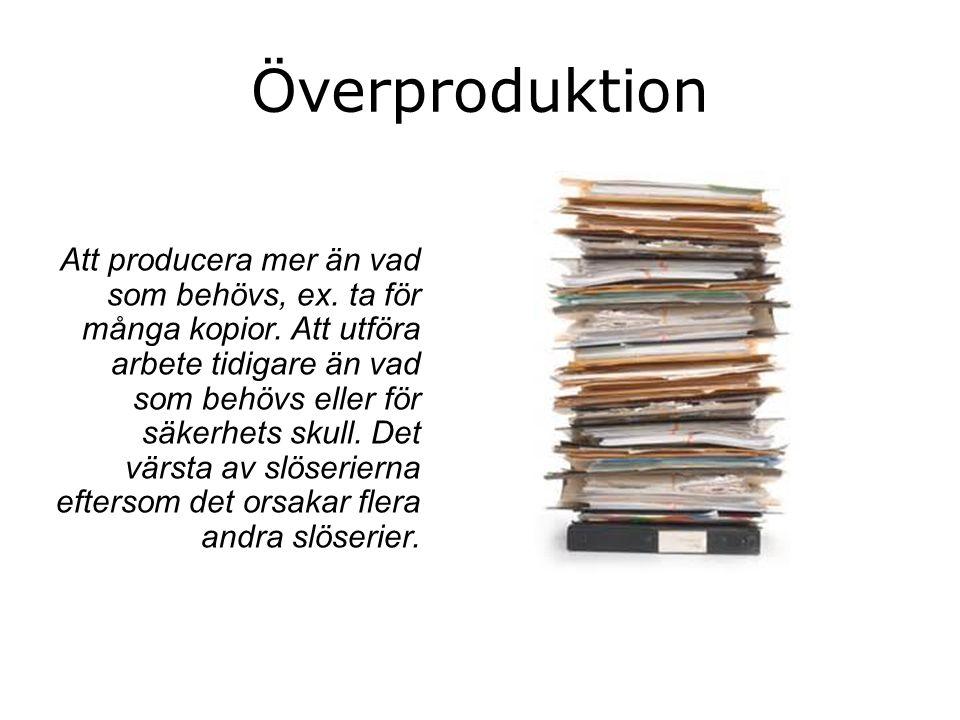 Överproduktion Att producera mer än vad som behövs, ex.