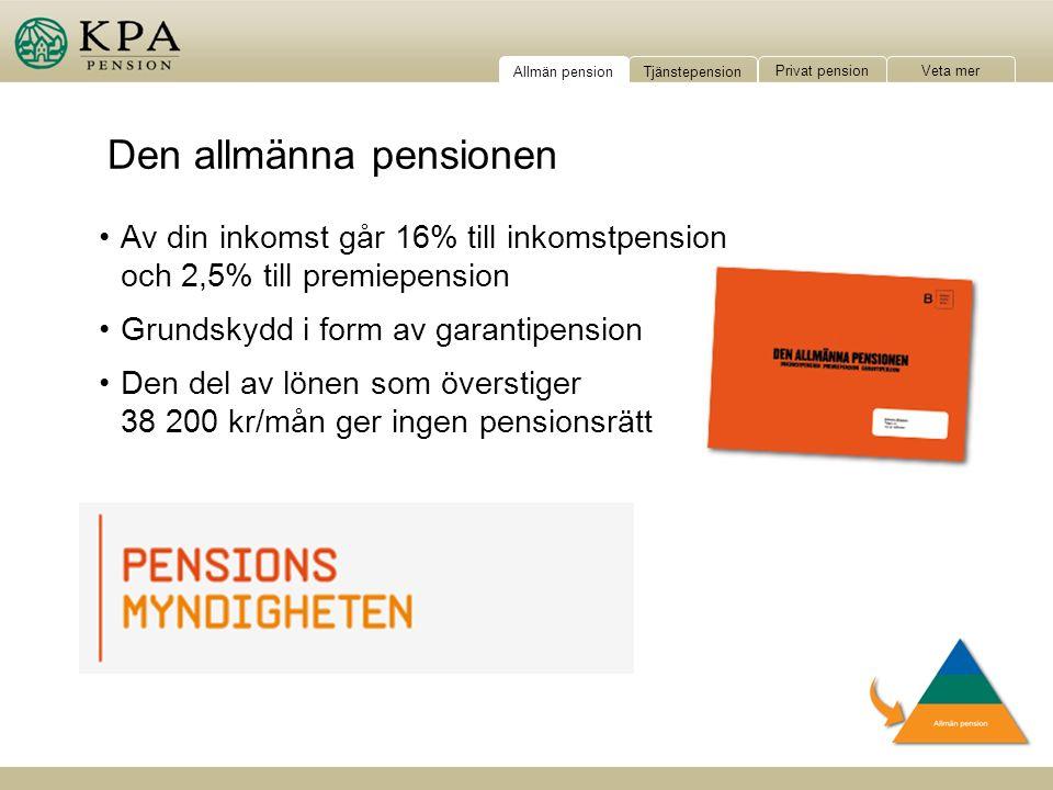 Av din inkomst går 16% till inkomstpension och 2,5% till premiepension Grundskydd i form av garantipension Den del av lönen som överstiger 38 200 kr/mån ger ingen pensionsrätt Tjänstepension Privat pension Veta mer Allmän pension