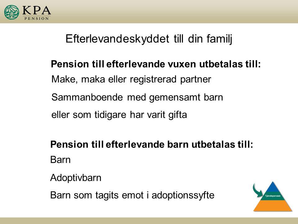 Efterlevandeskyddet till din familj Pension till efterlevande vuxen utbetalas till: Make, maka eller registrerad partner Sammanboende med gemensamt barn eller som tidigare har varit gifta Pension till efterlevande barn utbetalas till: Barn Adoptivbarn Barn som tagits emot i adoptionssyfte