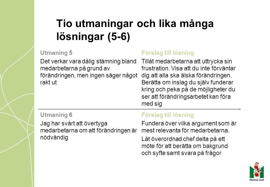 Tio utmaningar och lika många lösningar (5-6) Utmaning 5 Det verkar vara dålig stämning bland medarbetarna på grund av förändringen, men ingen säger n