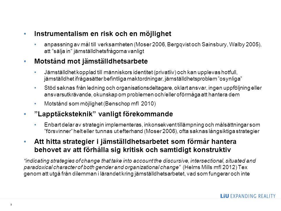 """Instrumentalism en risk och en möjlighet anpassning av mål till verksamheten (Moser 2006, Bergqvist och Sainsbury, Walby 2005), att """"sälja in"""" jämstäl"""