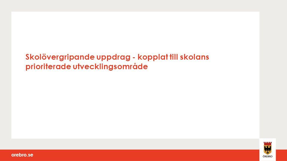 orebro.se Skolövergripande uppdrag - kopplat till skolans prioriterade utvecklingsområde