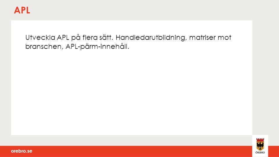 orebro.se APL Utveckla APL på flera sätt.