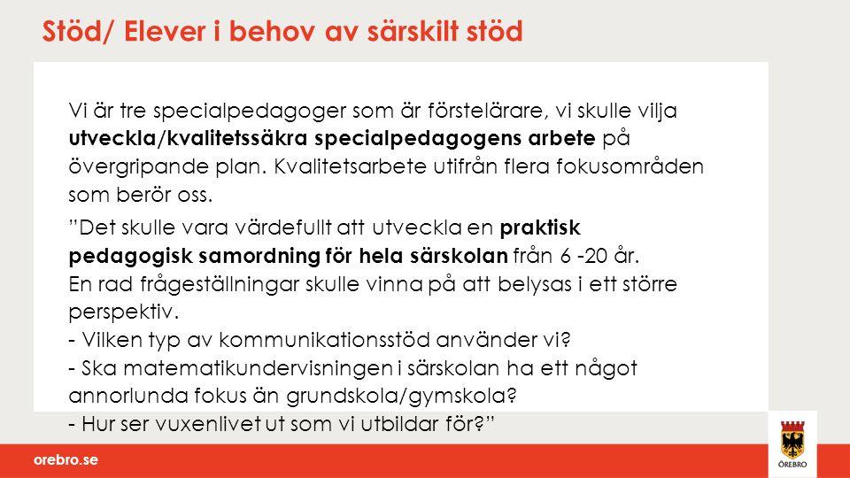 orebro.se Stöd/ Elever i behov av särskilt stöd Vi är tre specialpedagoger som är förstelärare, vi skulle vilja utveckla/kvalitetssäkra specialpedagogens arbete på övergripande plan.