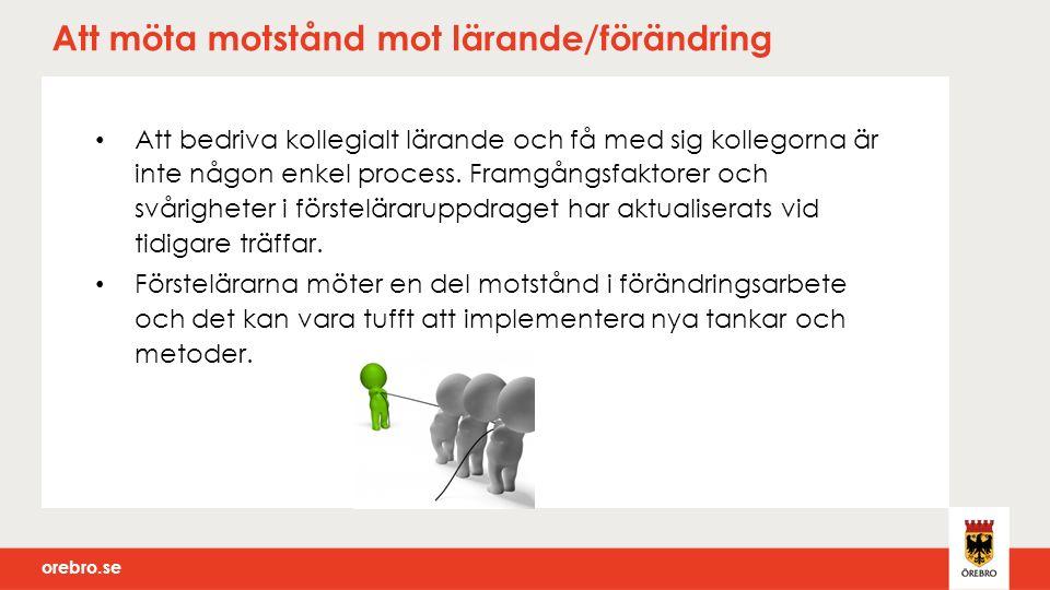 orebro.se Analys, sammanställning Nätverksträff 2 Nuläge, nyläge förstelärarrollen