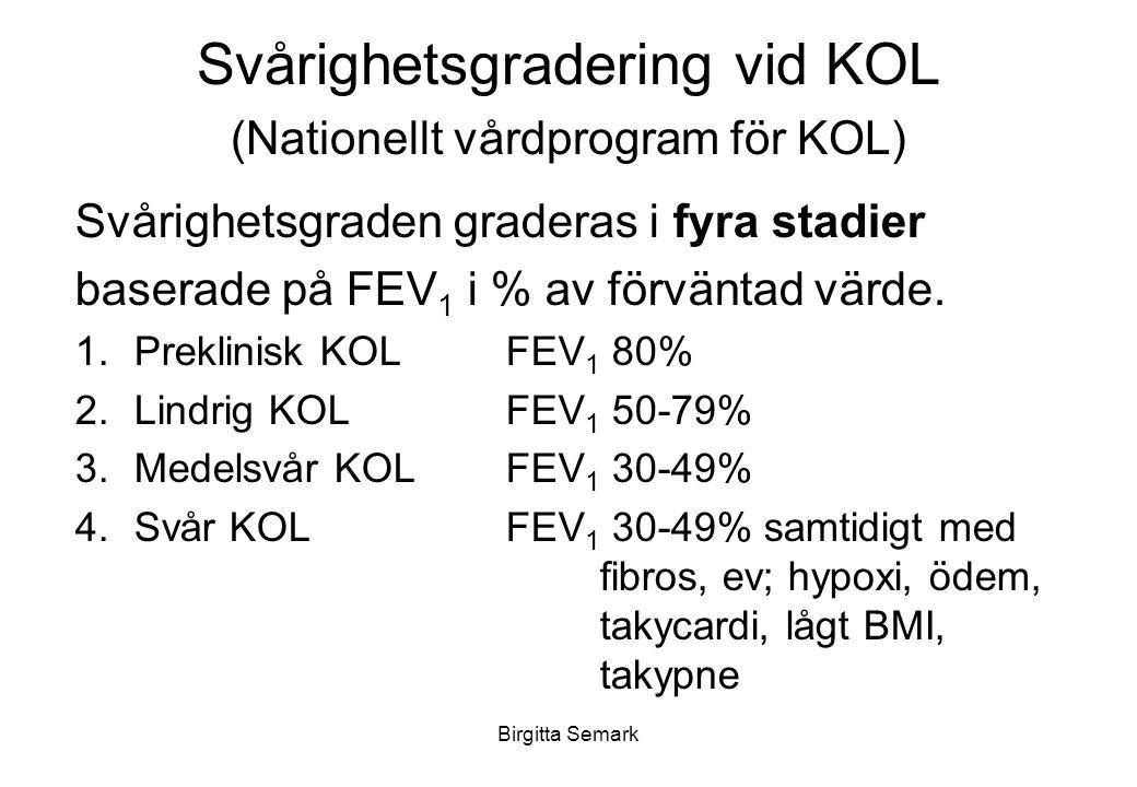 Birgitta Semark Svårighetsgradering vid KOL (Nationellt vårdprogram för KOL) Svårighetsgraden graderas i fyra stadier baserade på FEV 1 i % av förväntad värde.