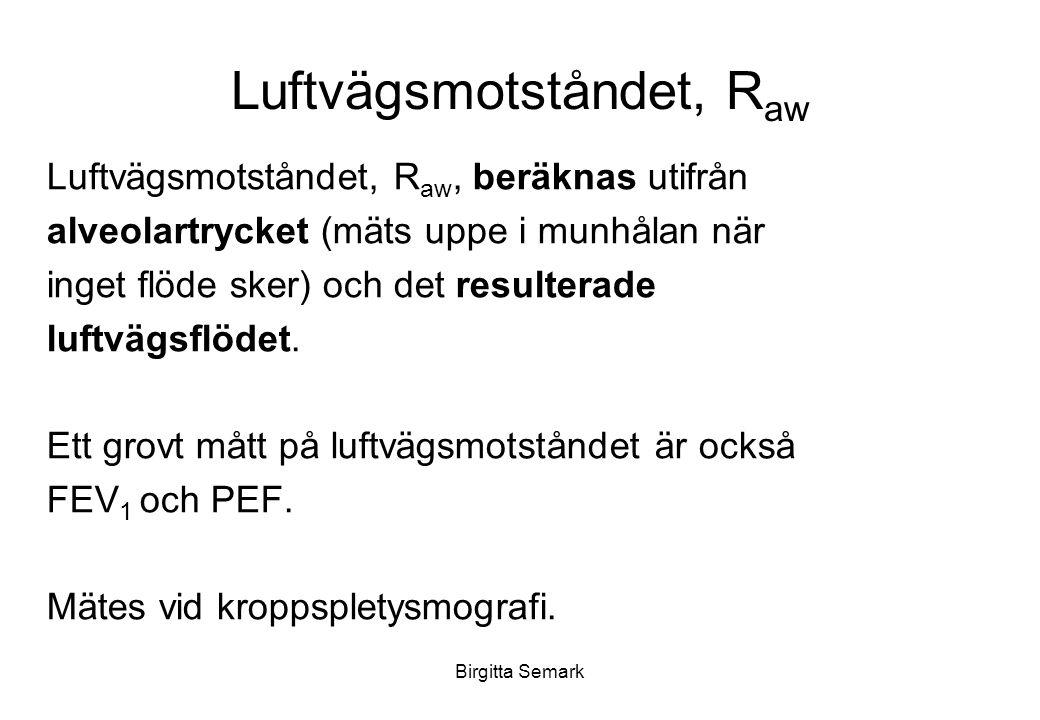 Birgitta Semark Luftvägsmotståndet, R aw Luftvägsmotståndet, R aw, beräknas utifrån alveolartrycket (mäts uppe i munhålan när inget flöde sker) och det resulterade luftvägsflödet.