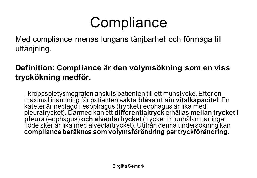 Birgitta Semark Compliance Med compliance menas lungans tänjbarhet och förmåga till uttänjning.