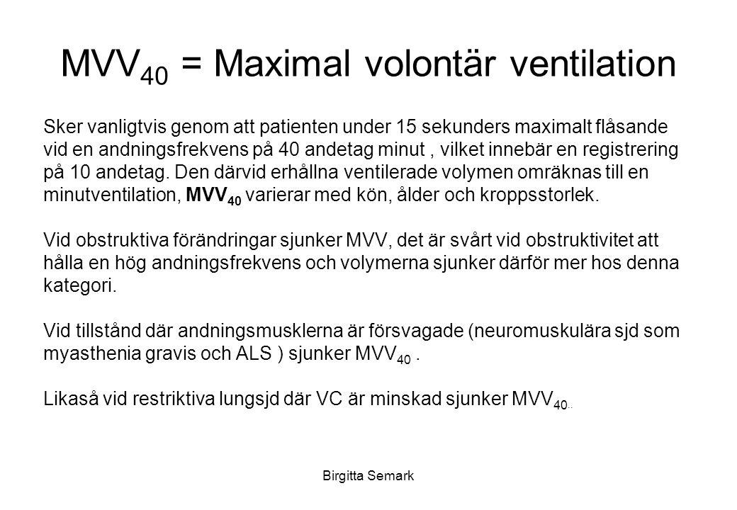 Birgitta Semark MVV 40 = Maximal volontär ventilation Sker vanligtvis genom att patienten under 15 sekunders maximalt flåsande vid en andningsfrekvens på 40 andetag minut, vilket innebär en registrering på 10 andetag.