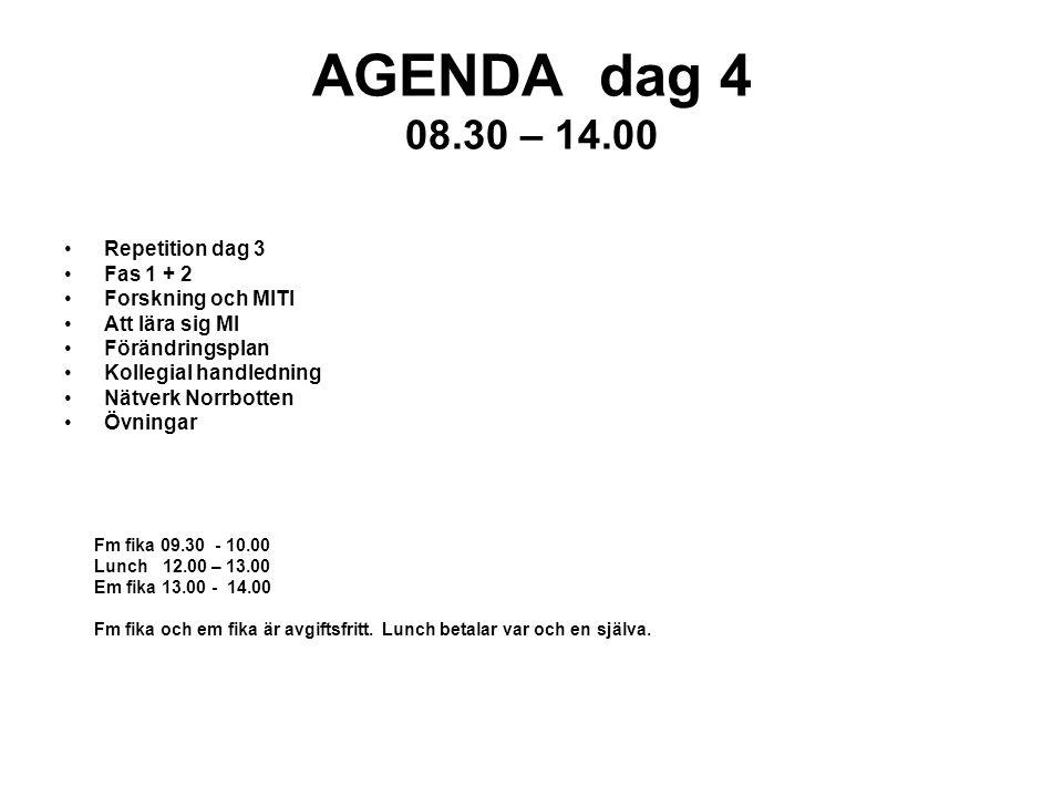 AGENDA dag 4 08.30 – 14.00 Repetition dag 3 Fas 1 + 2 Forskning och MITI Att lära sig MI Förändringsplan Kollegial handledning Nätverk Norrbotten Övningar Fm fika 09.30 - 10.00 Lunch 12.00 – 13.00 Em fika 13.00 - 14.00 Fm fika och em fika är avgiftsfritt.
