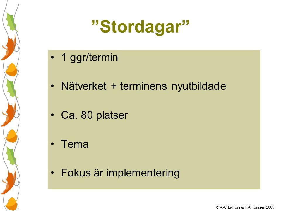 """""""Stordagar"""" 1 ggr/termin Nätverket + terminens nyutbildade Ca. 80 platser Tema Fokus är implementering © A-C Lidfors & T.Antonisen 2009"""