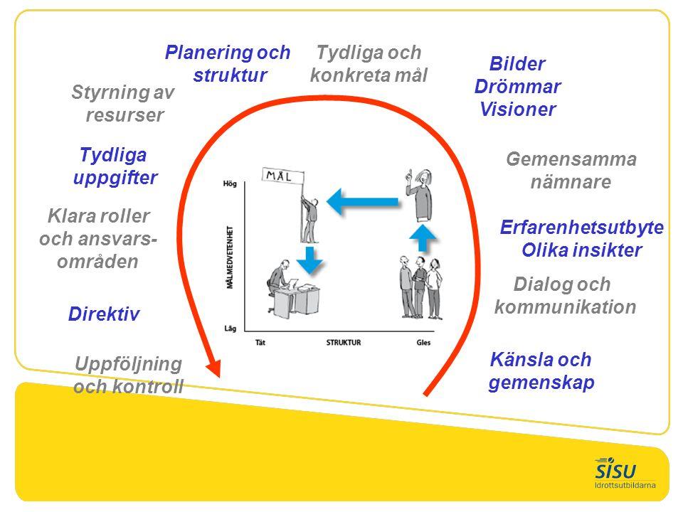 Creativity Känsla och gemenskap Dialog och kommunikation Erfarenhetsutbyte Olika insikter Bilder Drömmar Visioner Tydliga och konkreta mål Planering och struktur Tydliga uppgifter Klara roller och ansvars- områden Styrning av resurser Direktiv Uppföljning och kontroll Gemensamma nämnare