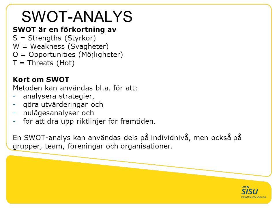 SWOT-ANALYS SWOT är en förkortning av S = Strengths (Styrkor) W = Weakness (Svagheter) O = Opportunities (Möjligheter) T = Threats (Hot) Kort om SWOT Metoden kan användas bl.a.