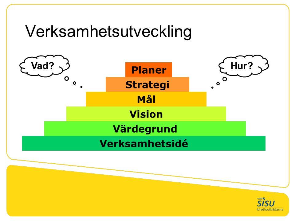 Verksamhetsutveckling Värdegrund Verksamhetsidé Vision Mål Strategi Planer Vad? Hur?
