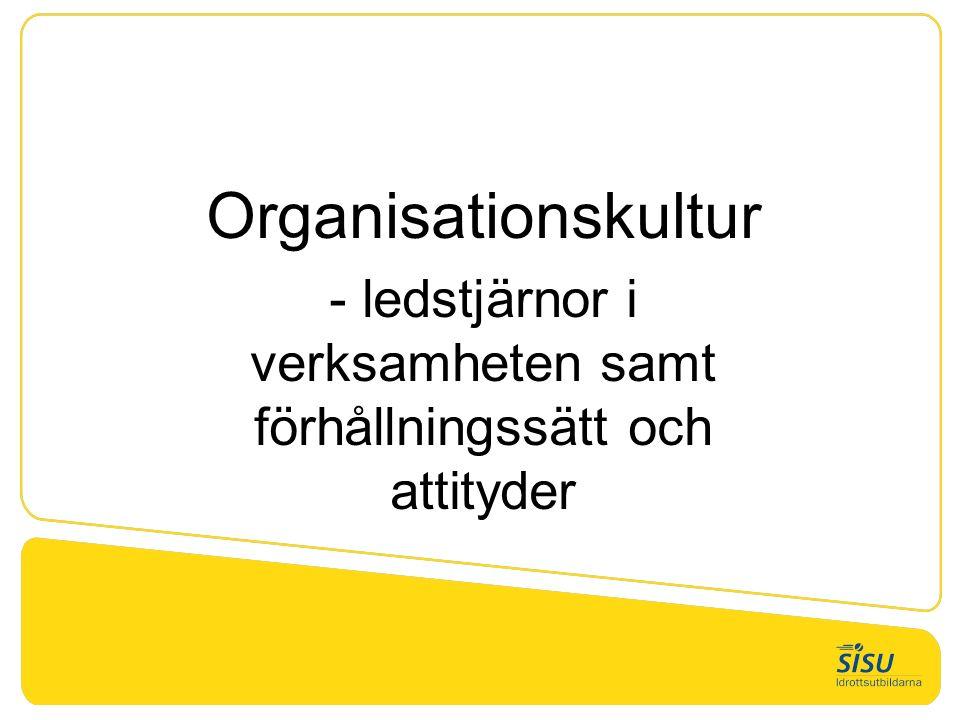 Organisationskultur - ledstjärnor i verksamheten samt förhållningssätt och attityder