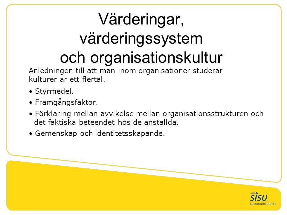Värderingar, värderingssystem och organisationskultur Anledningen till att man inom organisationer studerar kulturer är ett flertal. Styrmedel. Framgå