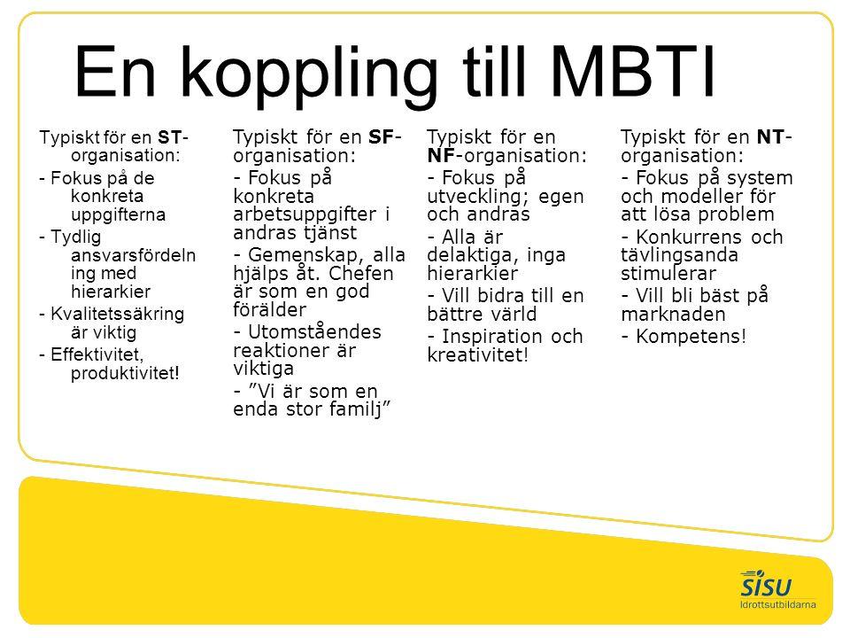 En koppling till MBTI Typiskt för en ST- organisation: - Fokus på de konkreta uppgifterna - Tydlig ansvarsfördeln ing med hierarkier - Kvalitetssäkrin