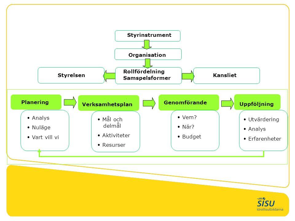 Styrinstrument Organisation Styrelsen Kansliet Rollfördelning Samspelsformer Planering Verksamhetsplan Genomförande Uppföljning Analys Nuläge Vart vil