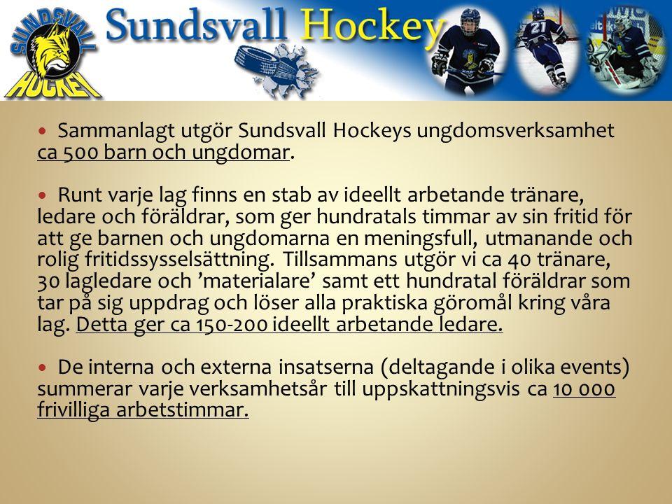 Sammanlagt utgör Sundsvall Hockeys ungdomsverksamhet ca 500 barn och ungdomar.