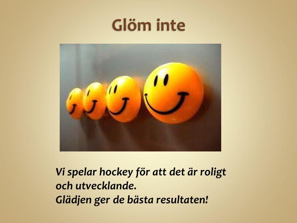 Vi spelar hockey för att det är roligt och utvecklande. Glädjen ger de bästa resultaten!