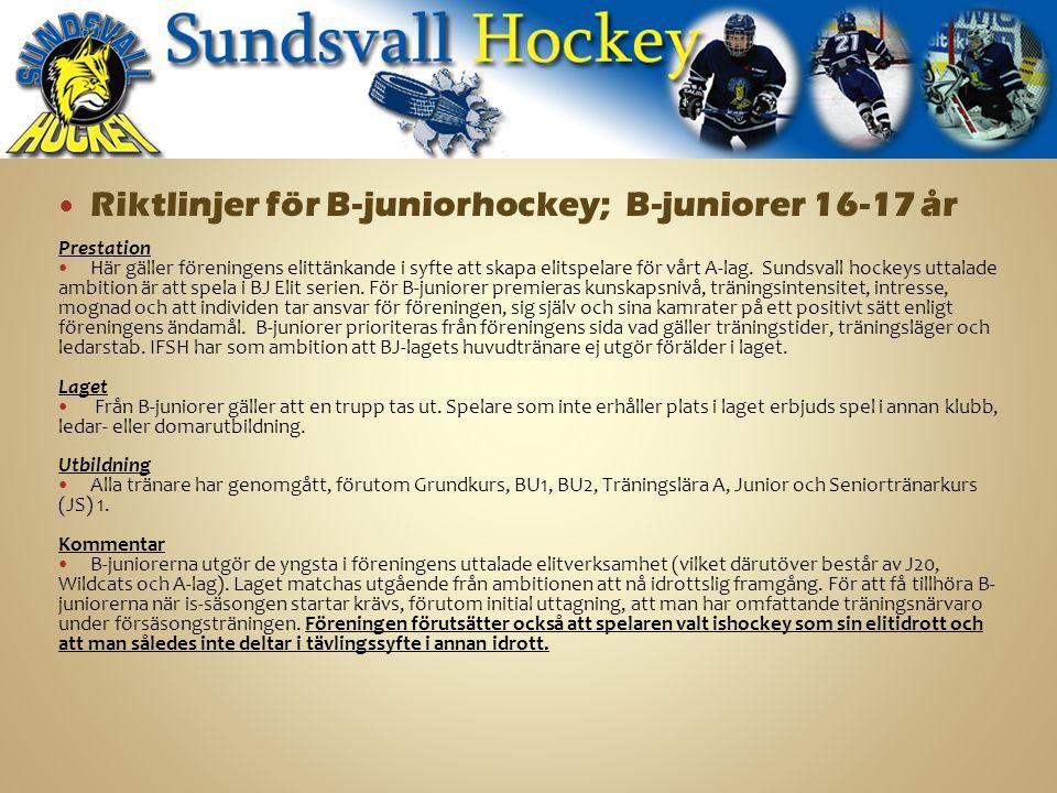 Riktlinjer för B-juniorhockey; B-juniorer 16-17 år Prestation Här gäller föreningens elittänkande i syfte att skapa elitspelare för vårt A-lag.