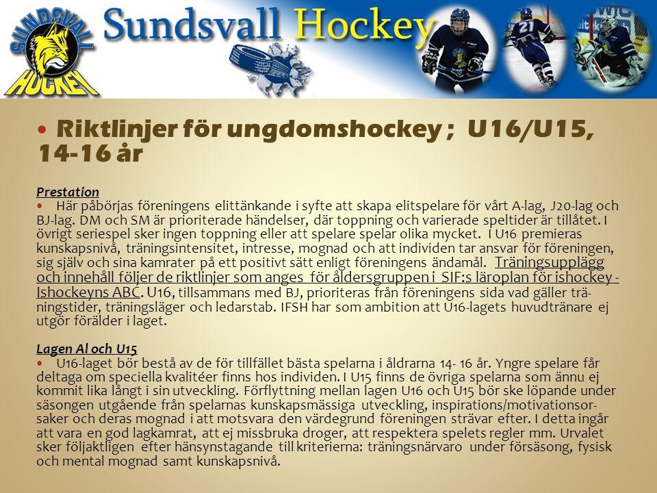 Riktlinjer för ungdomshockey ; U16/U15, 14-16 år Prestation Här påbörjas föreningens elittänkande i syfte att skapa elitspelare för vårt A-lag, J20-lag och BJ-lag.