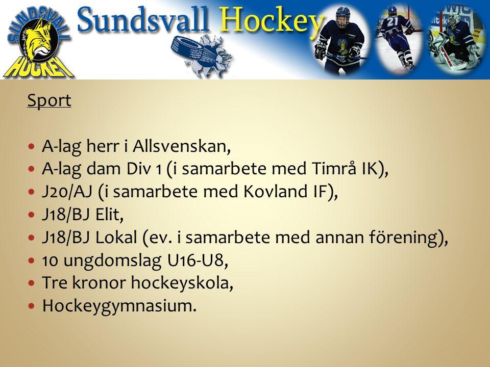 Sport A-lag herr i Allsvenskan, A-lag dam Div 1 (i samarbete med Timrå IK), J20/AJ (i samarbete med Kovland IF), J18/BJ Elit, J18/BJ Lokal (ev.